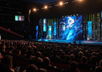 CANNES, FRANCE - JUNE 18: speak on stage at the Cannes Lions 2019 : Day Two on June 18, 2019 in Cannes, France. (Photo by Richard Bord/Getty Images for Cannes Lions)
